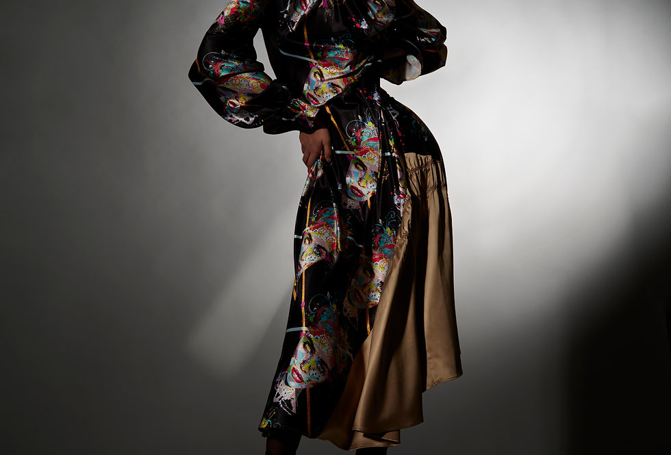Monica - Mix Print Tie Neck Shibori Dress