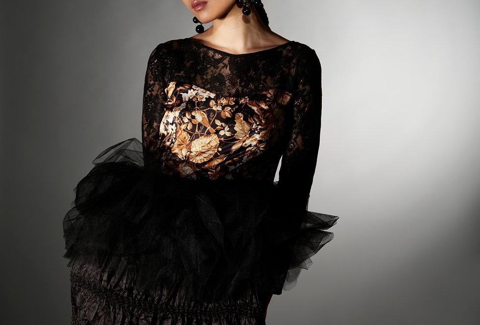 Ashley - Victorian Art Print Tulle Peplum Shibori Dress