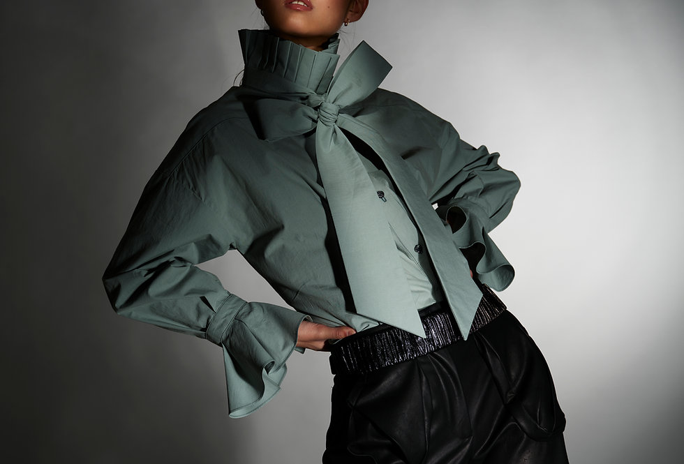 Chelsea - Pleated Collar Long Bow Tie Cotton Blouse