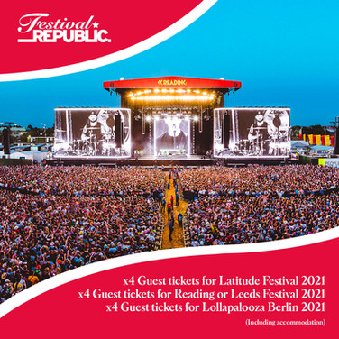 Lot 137 - 4 Guest Tickets to Latitude 2021, 4 Guest Tickets to Reading or Leeds Festival 2021, and 4 Guest Tickets to  Lollapalooza Berlin 2021
