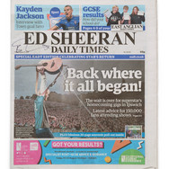 Lot 20 - Signed Ed Sheeran Daily Times Newspaper, Friday 23 August 2019