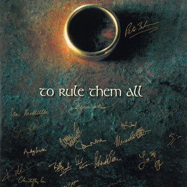 Lot 163 - Lord of Rings One Ring Rules Them All Poster 2001-3, Signed by Peter Jackson and the Cast