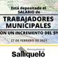 ESTÁ DEPOSITADO EL SALARIO DE LOS TRABAJADORES MUNICIPALES CON UN AUMENTO DEL 5%