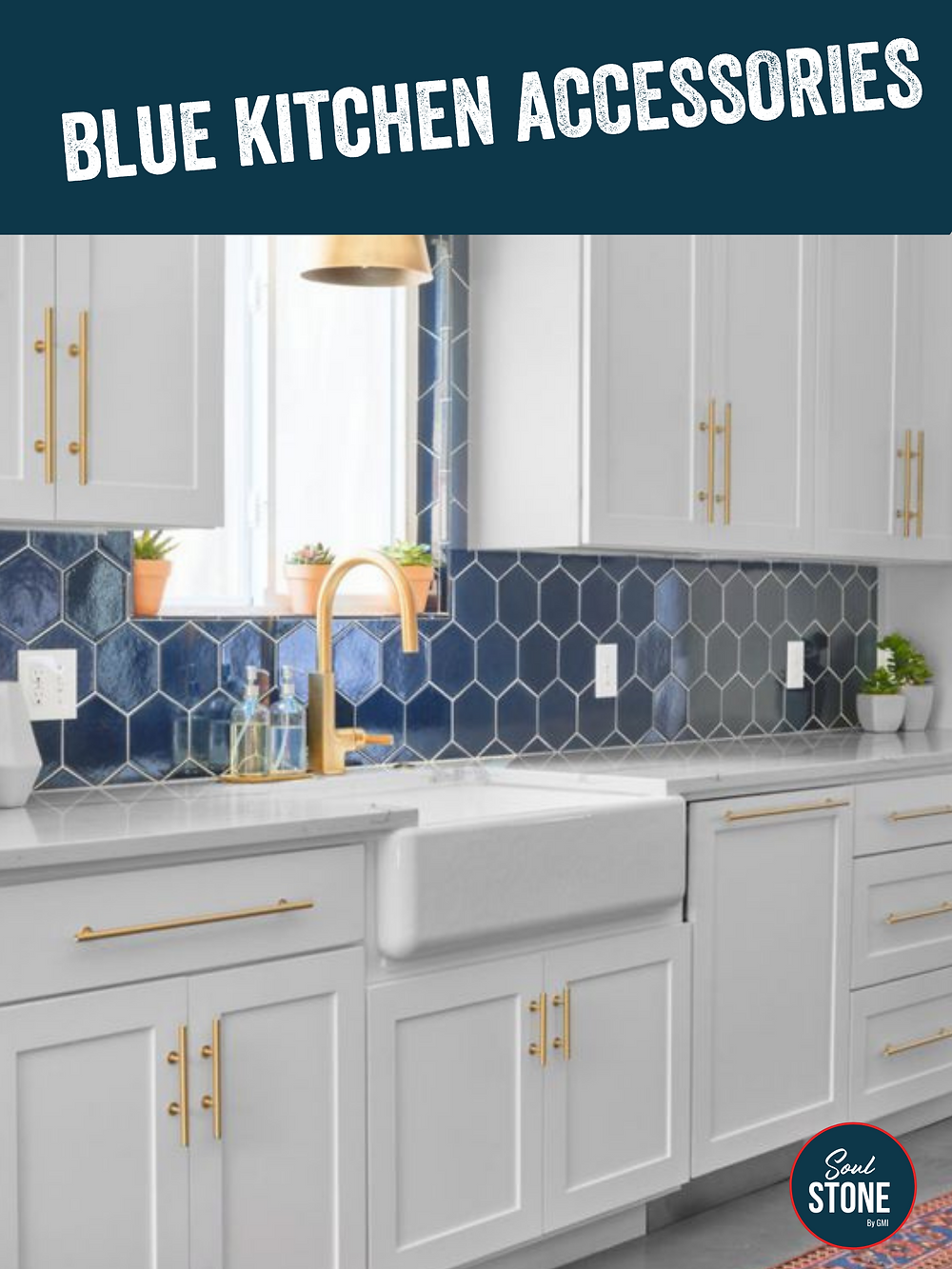 blue tiled water backsplash with white cabinets and gold faucets