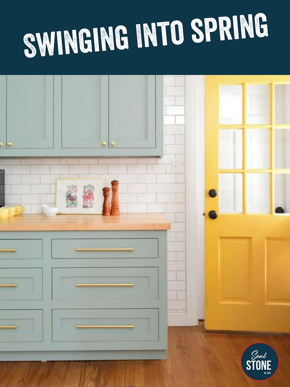 sea foam green kitchen cabinets with bright yellow painted door, kitchen renovations in prince edward county