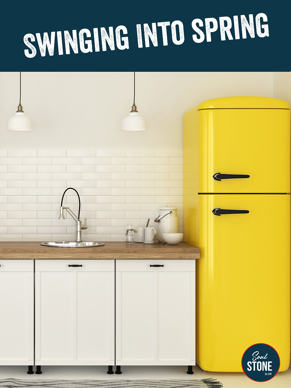 yellow fridge with white cabinets in kitchen renovation in prince edward county