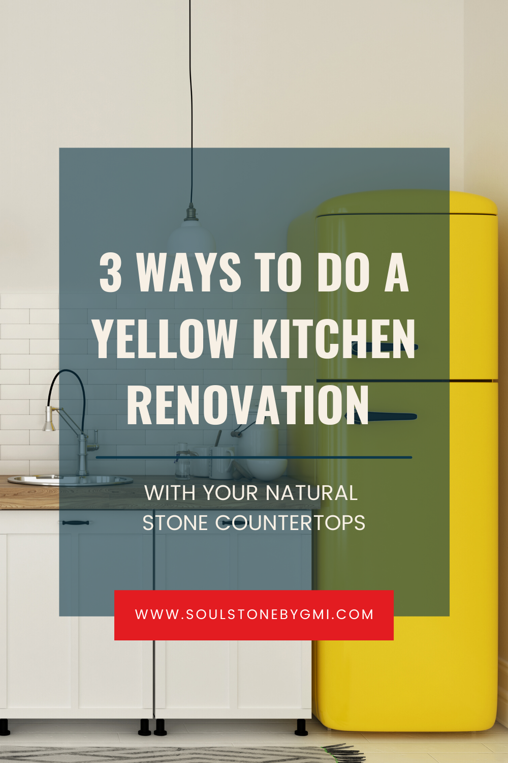 yellow fridge with white cabinets and wood countertop