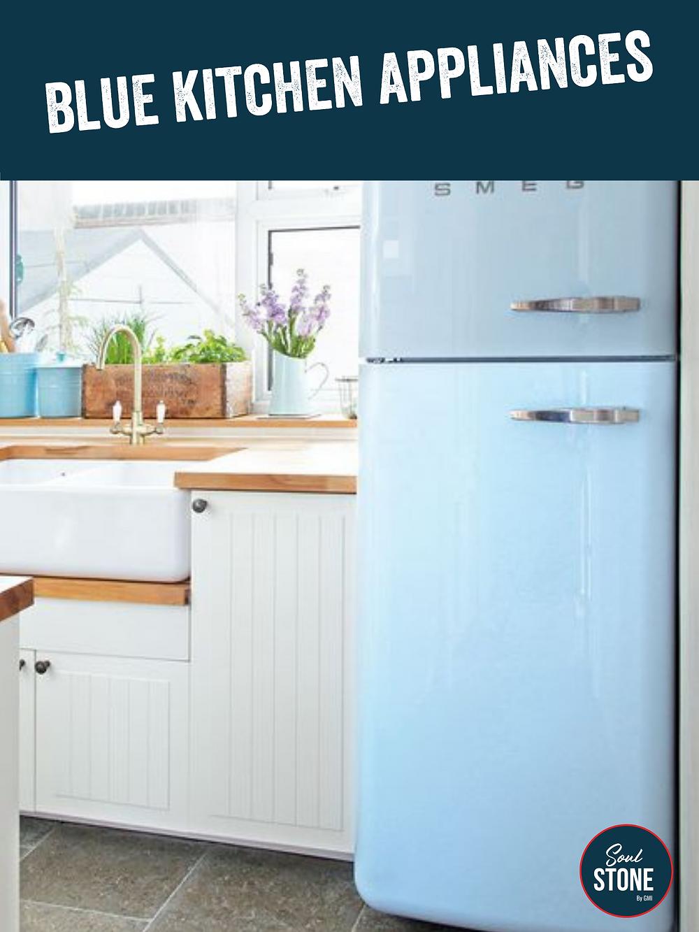 retro looking blue SMEG fridge