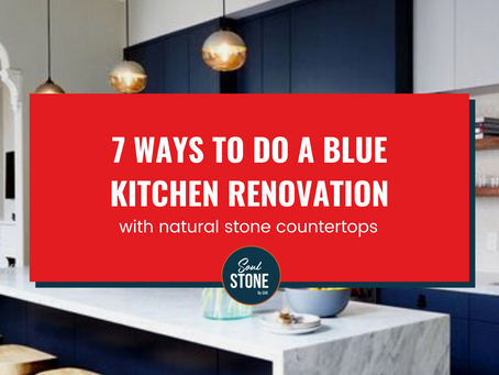 7 ways to do a blue kitchen with natural stone countertops