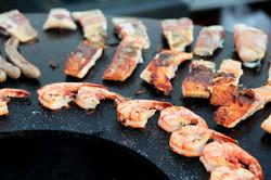 Grillbuffet, Feuerring mit Fisch