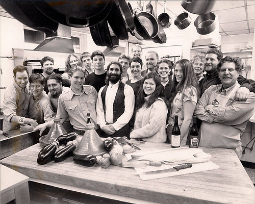 Photo from 1997 at Perugia Old World Cooking. Owner and founder Ray Risho on the far right next to his eldest son, with Sam's arm on his shoulder, and his wife Susie, and mother of Sam, Ephraim, and Abraham.  Abraham in ducking into the front row, third from the left.