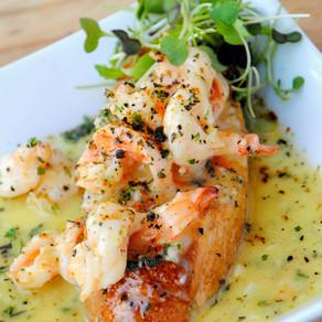 Advieh Shrimp Scampi on Tomato Bread