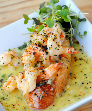 Advieh Shrimp Scampi on Tomato Bread