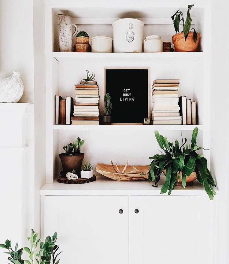 Wooden objects and greenery to bring in