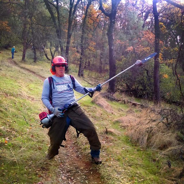 Pole Saw Guitar on Browns Ravine Trail work day.