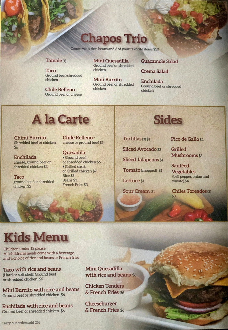 Chapos Trio, A la Carte, Sides, Kids Menu