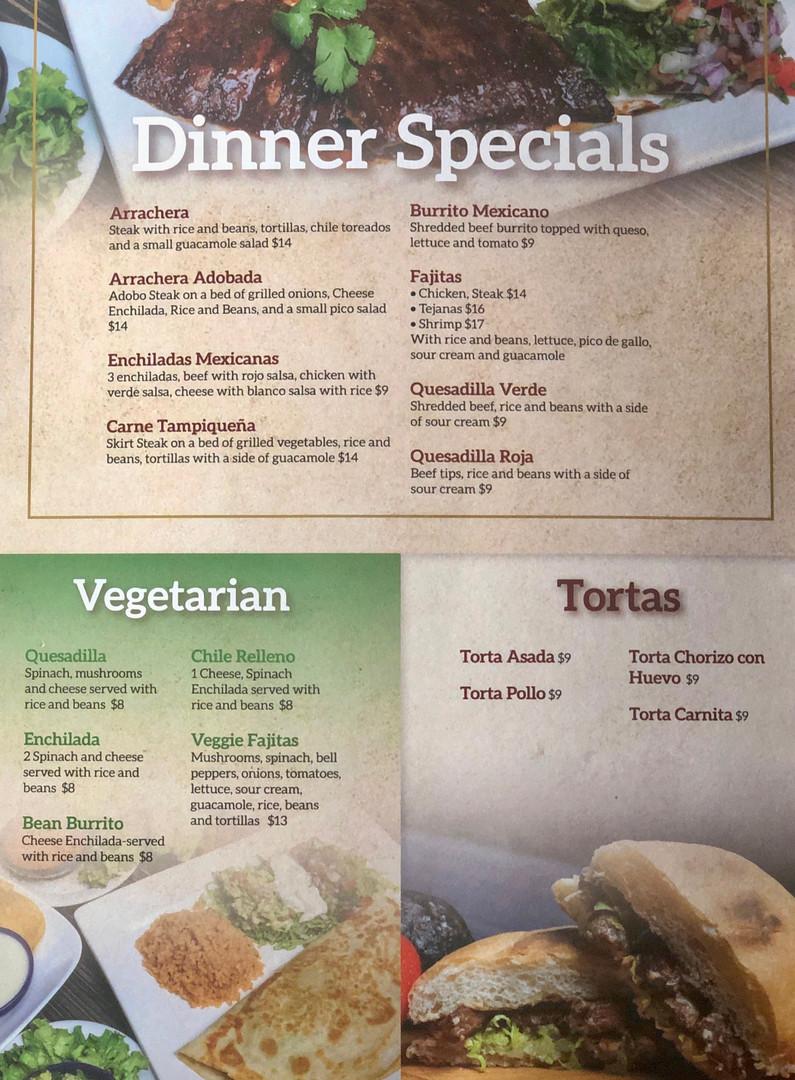 Dinner Specials, Vegetarian, Tortas