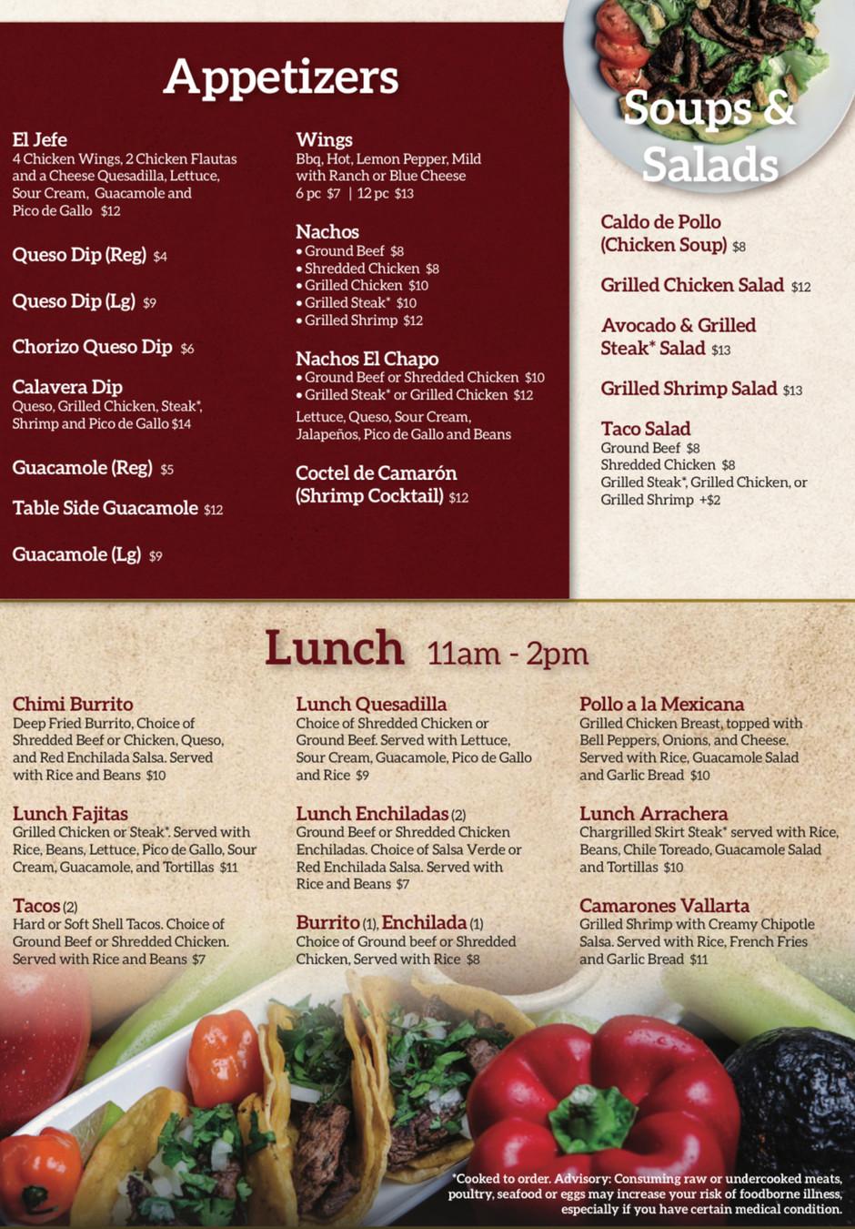 Appetizers, Soups & Salad, Lunch