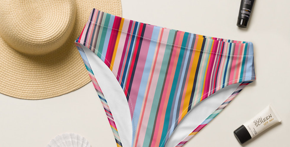 Colorful Stripes Recycled High-Waisted Bikini Bottom