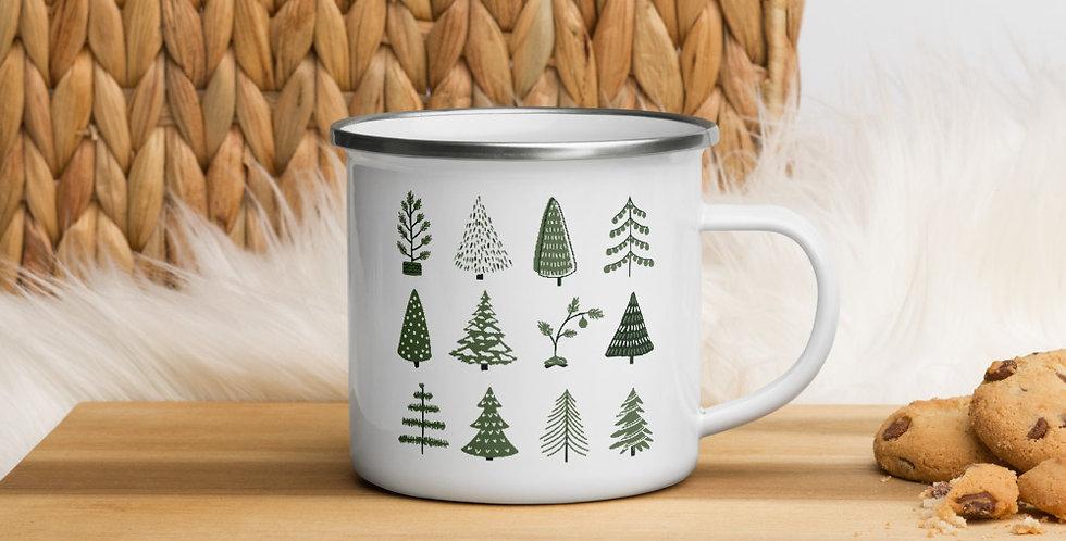 Christmas Trees Enamel Mug