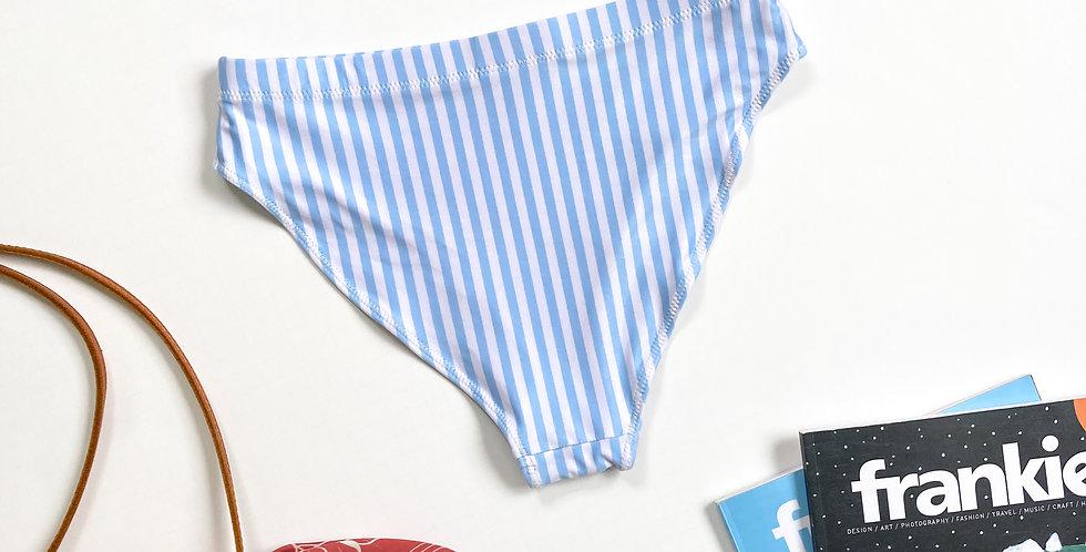 Light Blue Strip Recycled High-Waisted Bikini Bottom