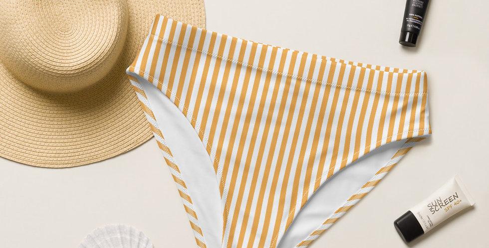 Lady Sunshine Yellow Strip Recycled High-Waisted Bikini Bottom