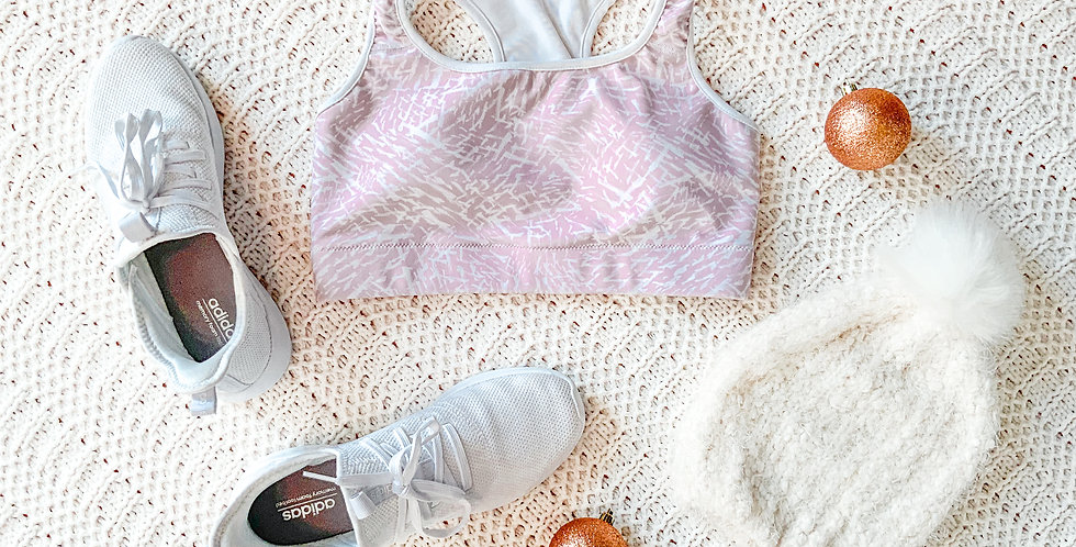Pink Painted Padded Sports Bra
