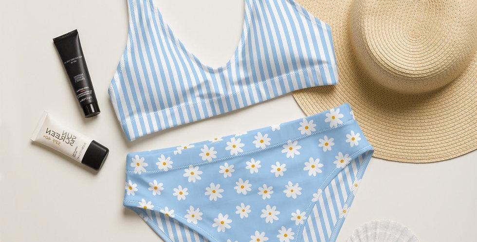 Blue Daisy Strip Top Recycled High-Waisted Bikini