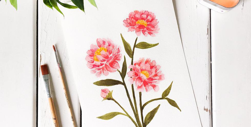Pink Peonies Watercolor Painting