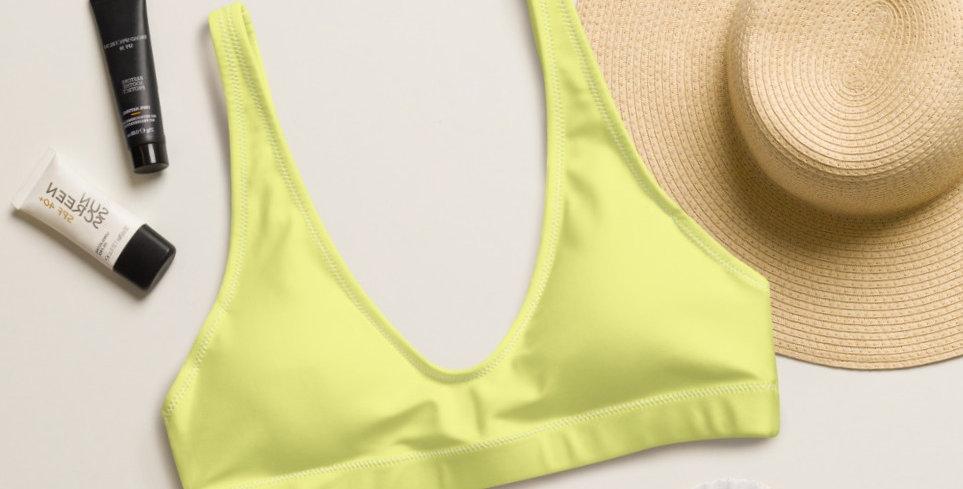 Chartreuse Recycled Padded Bikini Top