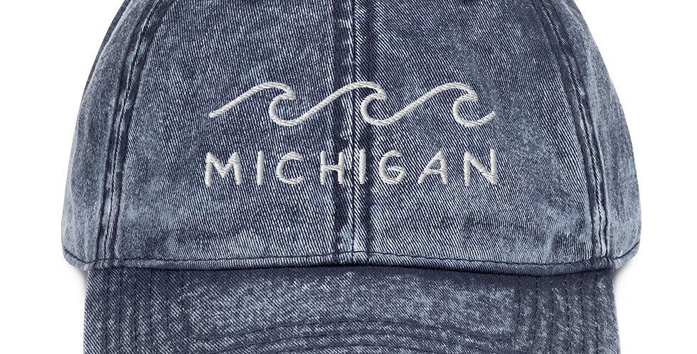 Vintage Michigan Hat with White Thread