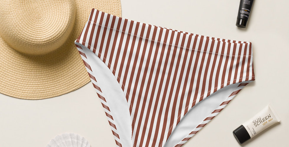 Lady Sunshine True Terra Cotta Stripe Recycled High-Waisted Bikini Bottom