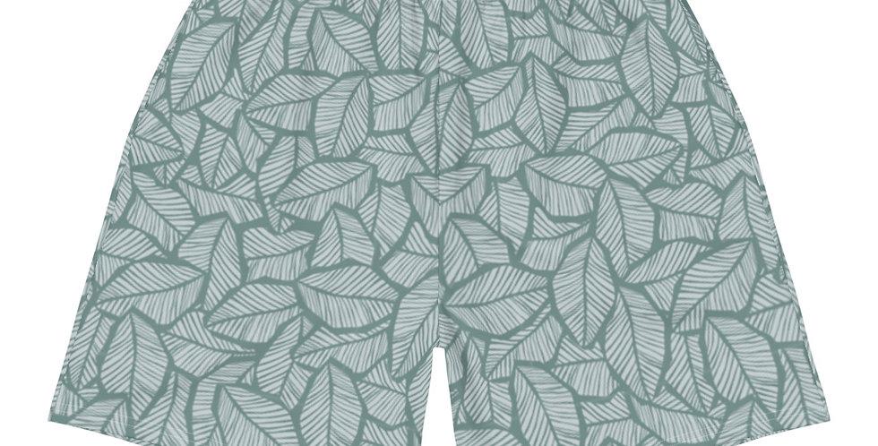 Sage Tropical Leaf Men's Athletic & Swim Shorts