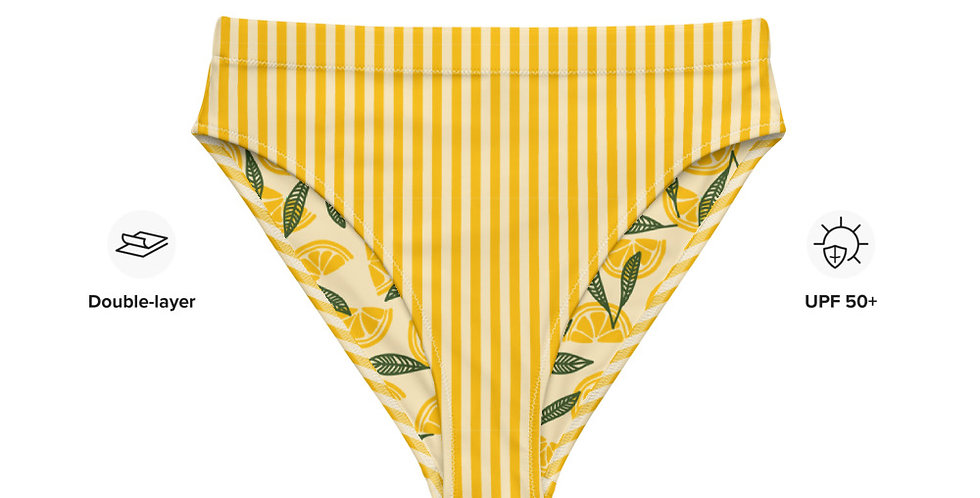 Lemon Strip Recycled High-Waisted Bikini Bottom