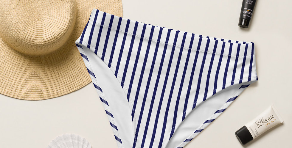 Navy Strip Recycled High-Waisted Bikini Bottom