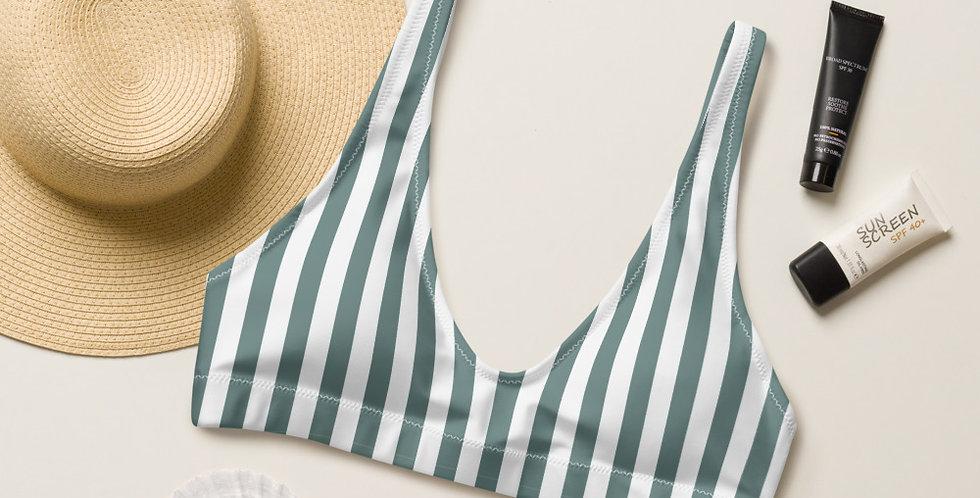 Sage Leaf Strip Recycled Padded Bikini Top