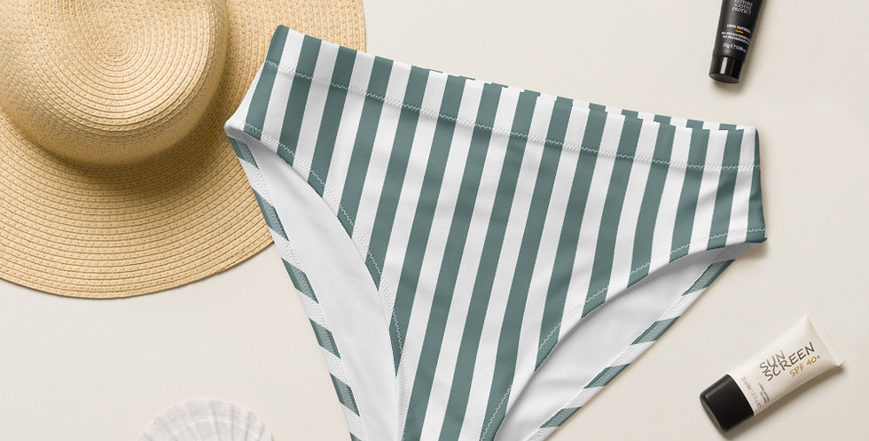 Sage Strip Recycled High-Waisted Bikini Bottom