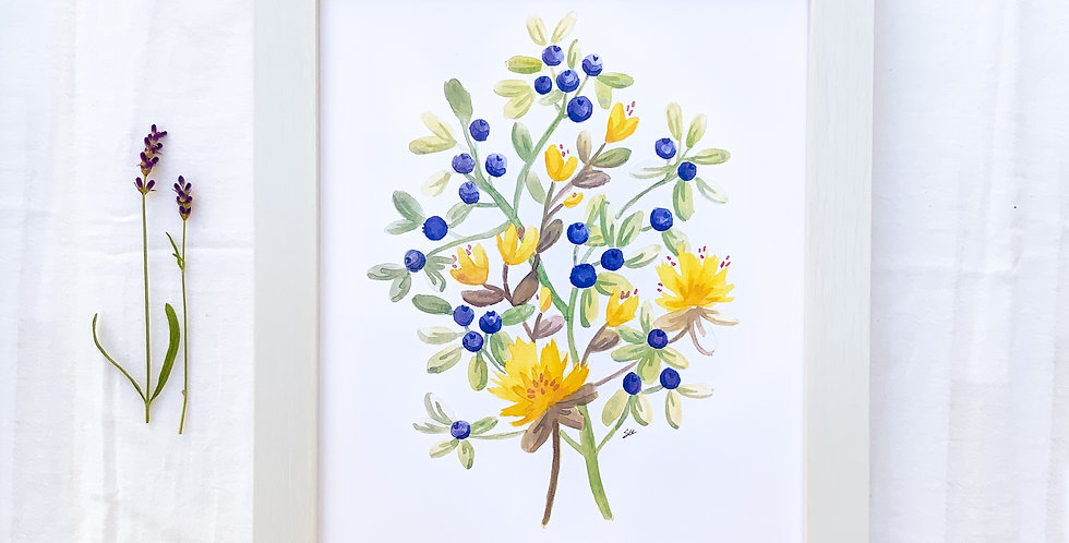 Blueberries Watercolor Painting