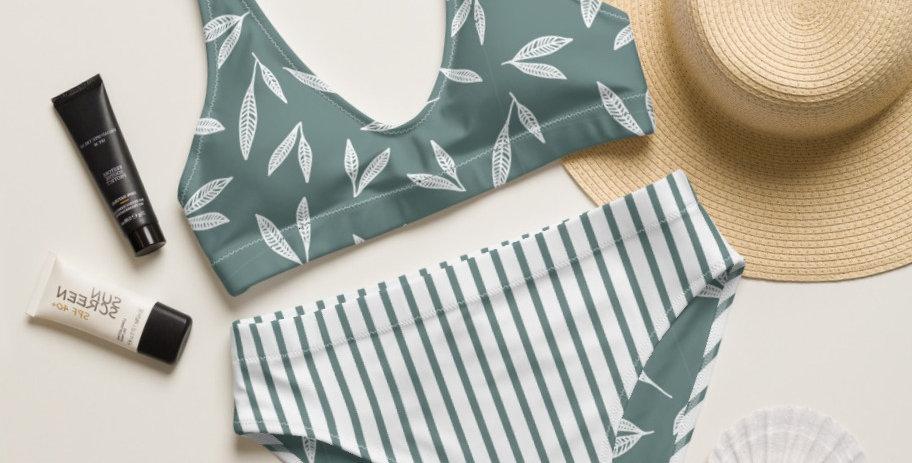 Sage Leaf Strip Bottom Recycled High-Waisted Bikini