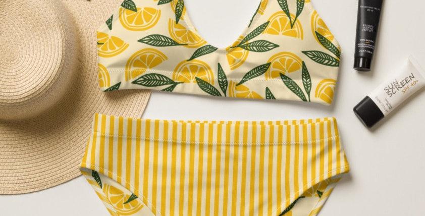 Lemon Top and Striped Bottom Recycled High-Waisted Bikini