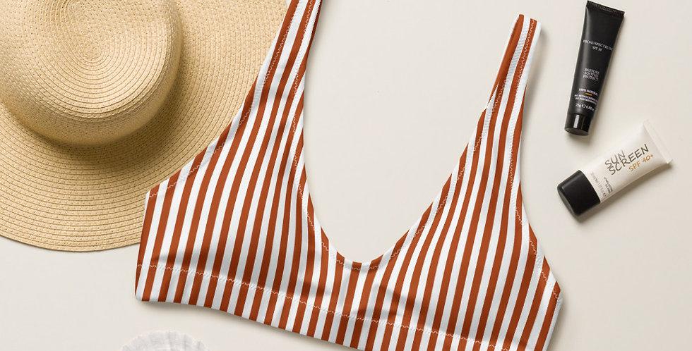 Lady Sunshine Terra Cotta Strip Recycled Padded Bikini Top
