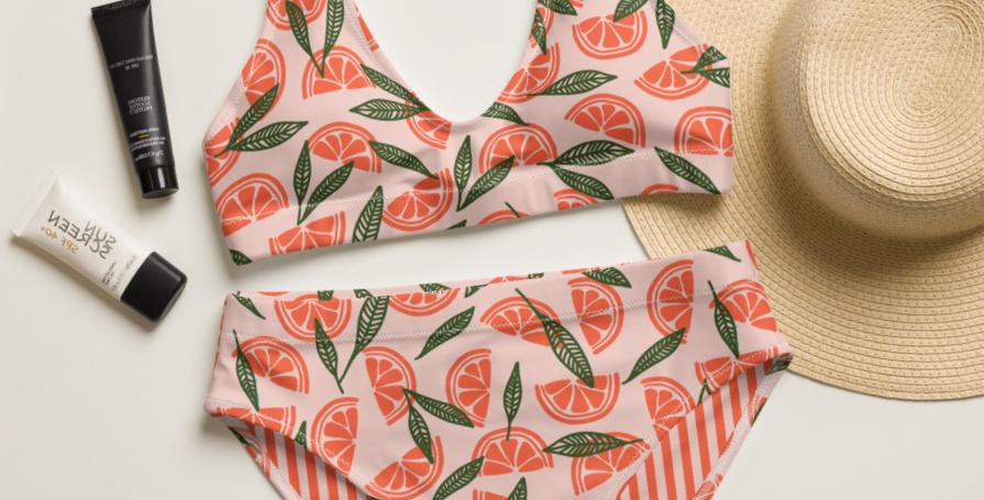 Grapefruit Recycled High-Waisted Bikini