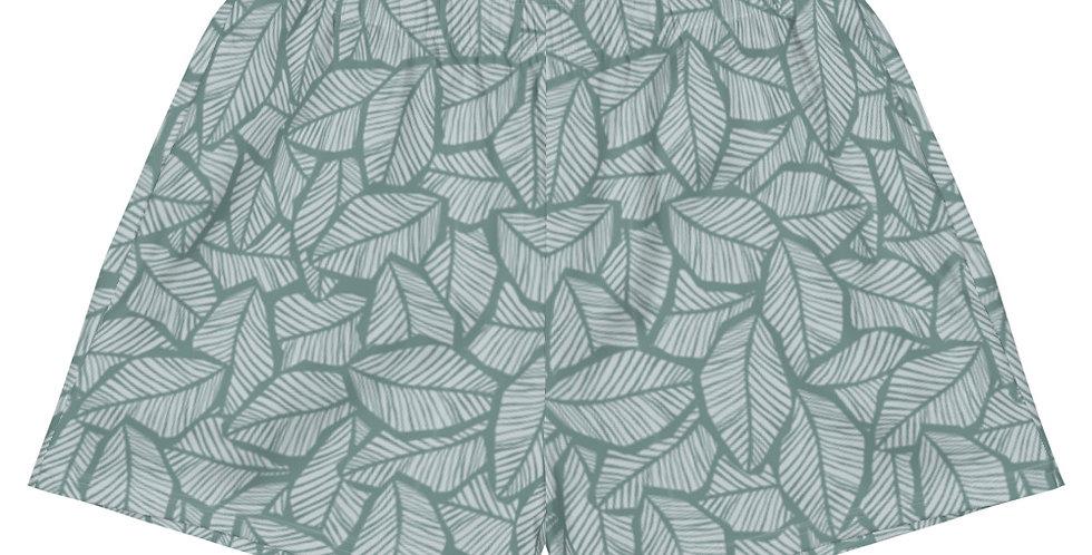 Sage Tropical Leaf Vegan Women's Athletic Shorts