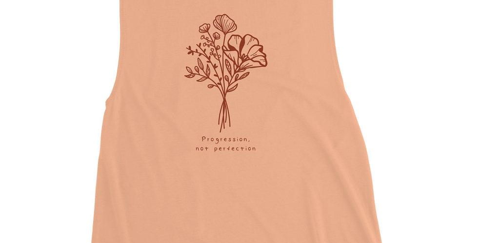 Progression Not Perfection Orange Ink Ladies' Muscle Tank