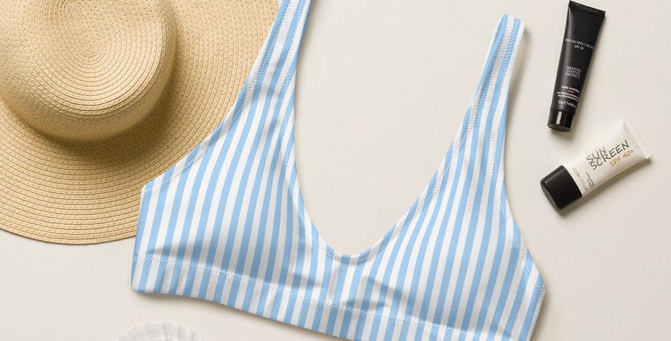 Light Blue Strip Recycled Padded Bikini Top