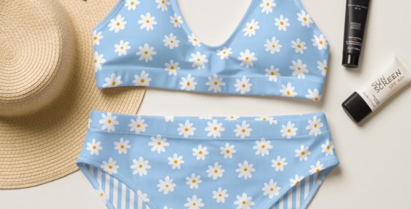 Blue Daisy Recycled High-Waisted Bikini