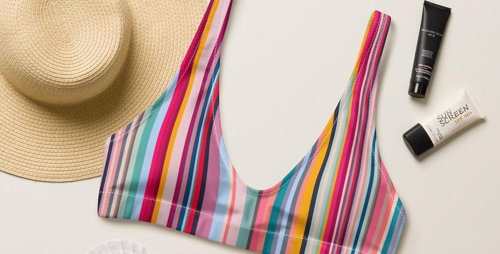 Colorful Stripes Recycled Padded Bikini Top
