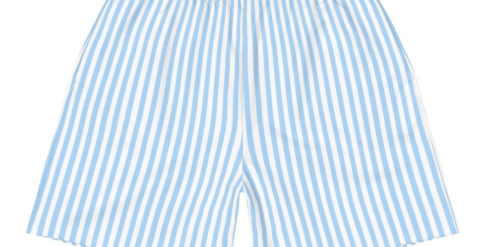 Men's Matching Daisy Blue Thin Stripe Athletic Shorts