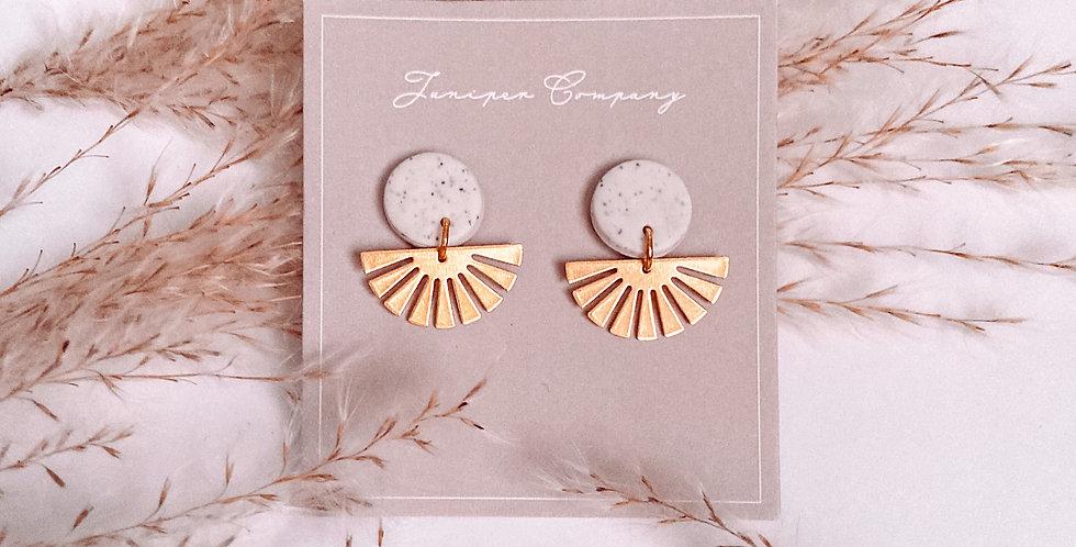 Circle Gold Fan Earrings