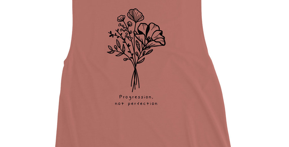 Progression > Perfection Black Ink Ladies' Muscle Tank